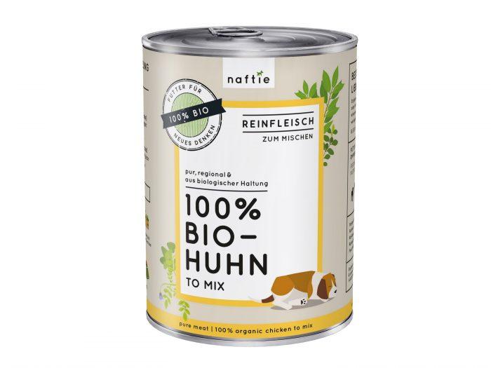 Bio Hundefutter nass Huhn naftie 400gr Reinfleisch